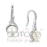 Wholesale Synthetic, White, Rhodium, Women, Brass, Earrings