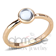 Wholesale Synthetic, Aquamarine, Rose Gold, Women, Brass, Ring