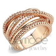 Wholesale AAA Grade CZ, Clear, Rose Gold, Women, Brass, Ring