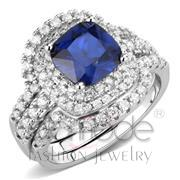 Wholesale Synthetic, London Blue, Rhodium, Women, Brass, Ring