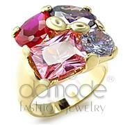 Wholesale AAA Grade CZ, Multi Color, Gold, Women, Brass, Ring