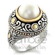 Wholesale Synthetic, White, Reverse Two-Tone, Women, Brass, Ring