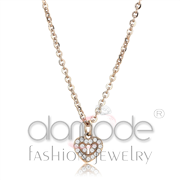 Wholesale AAA Grade CZ, Clear, IP Rose Gold(Ion Plating), Women, Stainless Steel, Chain Pendant