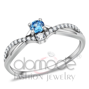 Wholesale AAA Grade CZ, Sea Blue, High polished (no plating), Women, Stainless Steel, Ring