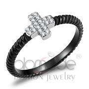 Wholesale AAA Grade CZ, Clear, Two-Tone IP Black (Ion Plating), Women, Stainless Steel, Ring