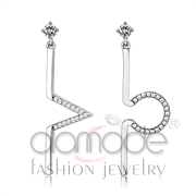 Wholesale AAA Grade CZ, Clear, High polished (no plating), Women, Stainless Steel, Earrings