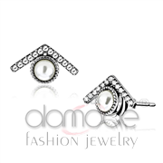 Wholesale Synthetic, White, High polished (no plating), Women, Stainless Steel, Earrings