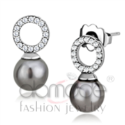 Wholesale Synthetic, Gray, High polished (no plating), Women, Stainless Steel, Earrings