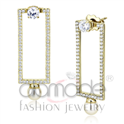 Wholesale Synthetic, White, IP Gold(Ion Plating), Women, Stainless Steel, Earrings