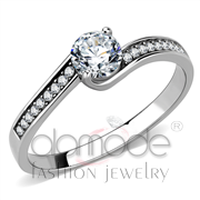 Wholesale AAA Grade CZ, Clear, High polished (no plating), Women, Stainless Steel, Ring