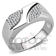 Wholesale AAA Grade CZ, Clear, High polished (no plating), Men, Stainless Steel, Ring