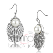 Wholesale Synthetic, White, No Plating, Women, Stainless Steel, Earrings