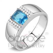 Wholesale Synthetic, Sea Blue, No Plating, Men, Stainless Steel, Ring