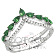 Wholesale Synthetic, Emerald, High polished (no plating), Women, Stainless Steel, Ring