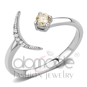 Wholesale AAA Grade CZ, Champagne, High polished (no plating), Women, Stainless Steel, Ring