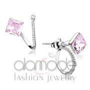 Wholesale Top Grade Crystal, Light Rose, High polished (no plating), Women, Stainless Steel, Earrings