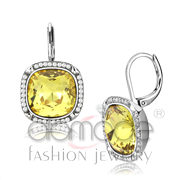 Wholesale Top Grade Crystal, Topaz, High polished (no plating), Women, Stainless Steel, Earrings