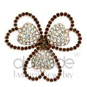 Wholesale Top Grade Crystal, Smoked Quartz, Flash Rose Gold, Women, White Metal, Brooches