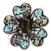 Wholesale Synthetic, Brown, Ruthenium, Women, White Metal, Brooches