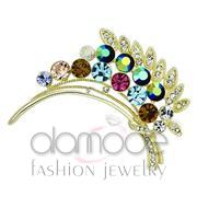 Wholesale Top Grade Crystal, Multi Color, Flash Gold, Women, White Metal, Brooches