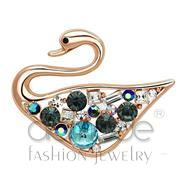 Wholesale Top Grade Crystal, Multi Color, Flash Rose Gold, Women, White Metal, Brooches