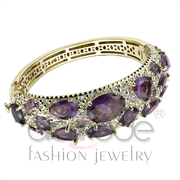 Wholesale Synthetic, Amethyst, Gold, Women, Brass, Bangle