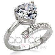 Wholesale AAA Grade CZ, Clear, High-Polished, Women, Stainless Steel, Ring