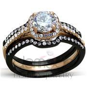 Wholesale AAA Grade CZ, Clear, IP Rose Gold+ IP Black (Ion Plating), Women, Stainless Steel, Ring