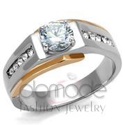Wholesale AAA Grade CZ, Clear, Two-Tone IP Rose Gold, Men, Stainless Steel, Ring