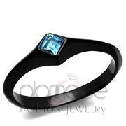 Wholesale Top Grade Crystal, Sea Blue, IP Black(Ion Plating), Women, Stainless Steel, Ring