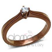 Wholesale AAA Grade CZ, Clear, IP Coffee light, Women, Stainless Steel, Ring