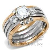 Wholesale AAA Grade CZ, Clear, Two-Tone IP Rose Gold, Women, Stainless Steel, Ring