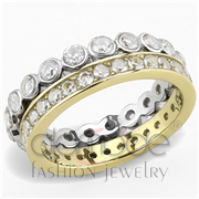 Wholesale AAA Grade CZ, Clear, Two-Tone IP Gold (Ion Plating), Women, Stainless Steel, Ring