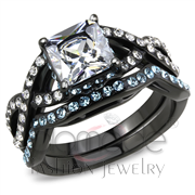Wholesale AAA Grade CZ, Clear, IP Black(Ion Plating), Women, Stainless Steel, Ring