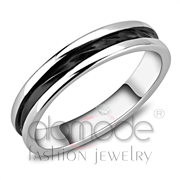 Wholesale No Stone, Two-Tone IP Black (Ion Plating), Women, Stainless Steel, Ring