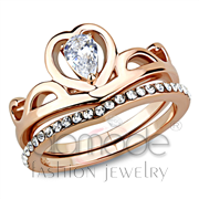 Wholesale AAA Grade CZ, Clear, IP Rose Gold(Ion Plating), Women, Stainless Steel, Ring