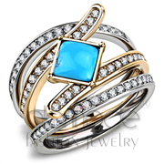 Wholesale Synthetic, Sea Blue, Two-Tone IP Rose Gold, Women, Stainless Steel, Ring