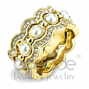 Wholesale Synthetic, White, IP Gold(Ion Plating), Women, Stainless Steel, Ring