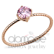 Wholesale AAA Grade CZ, Rose, IP Rose Gold(Ion Plating), Women, Stainless Steel, Ring