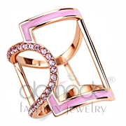 Wholesale Top Grade Crystal, Light Rose, IP Rose Gold(Ion Plating), Women, Stainless Steel, Ring