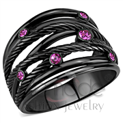 Wholesale Top Grade Crystal, Fuchsia, IP Black(Ion Plating), Women, Stainless Steel, Ring
