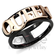 Wholesale No Stone, IP Rose Gold+ IP Black (Ion Plating), Women, Stainless Steel, Ring