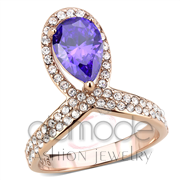 Wholesale AAA Grade CZ, Tanzanite, IP Rose Gold(Ion Plating), Women, Stainless Steel, Ring