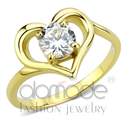 Wholesale AAA Grade CZ, Clear, IP Gold(Ion Plating), Women, Stainless Steel, Ring