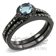 Wholesale Synthetic, Sea Blue, IP Black(Ion Plating), Women, Stainless Steel, Ring