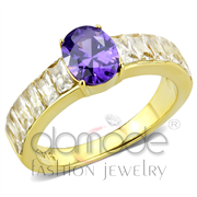 Wholesale AAA Grade CZ, Tanzanite, IP Gold(Ion Plating), Women, Stainless Steel, Ring