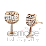 Wholesale Top Grade Crystal, Clear, IP Rose Gold(Ion Plating), Women, Stainless Steel, Earrings