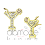 Wholesale Top Grade Crystal, Silk, IP Gold(Ion Plating), Women, Stainless Steel, Earrings