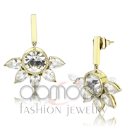 Wholesale Top Grade Crystal, Clear, IP Gold(Ion Plating), Women, Stainless Steel, Earrings