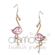Wholesale AAA Grade CZ, Rose, IP Rose Gold(Ion Plating), Women, Stainless Steel, Earrings